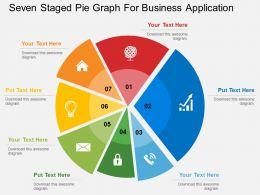 Seven Staged Pie Graph For Business Application Flat Powerpoint Design