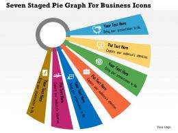 Seven Staged Pie Graph For Business Icons Flat Powerpoint Design