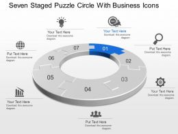 Seven Staged Puzzle Circle With Business Icons Powerpoint Template Slide