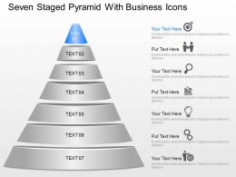 Seven Staged Pyramid With Business Icons Powerpoint Template Slide