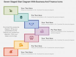 Seven Staged Stair Diagram With Business And Finance Icons Flat Powerpoint Design