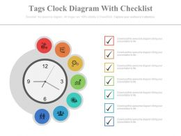 Seven Staged Tags Clock Diagram With Checklist Powerpoint Slides
