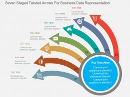 Seven Staged Twisted Arrows For Business Data Representation Flat Powerpoint Design