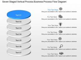 Seven Staged Vertical Process Business Process Flow Diagram Powerpoint Template Slide