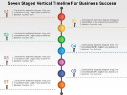 Seven Staged Vertical Timeline For Business Success Flat Powerpoint Design