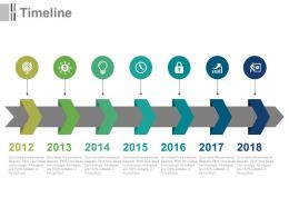 Seven Staged Year Based Linear Timeline For Business Powerpoint Slides