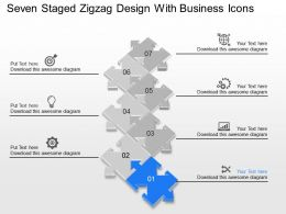 Seven Staged Zigzag Design With Business Icons Powerpoint Template Slide