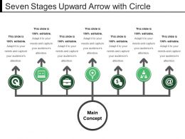 Seven Stages Upward Arrow With Circle