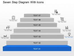 Seven Step Diagram With Icons Powerpoint Template Slide