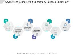 Seven Steps Business Start Up Strategy Hexagon Linear Flow