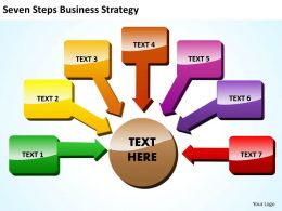 seven steps business strategy powerpoint templates with shiny boxes and arrows pointing inwards 0712