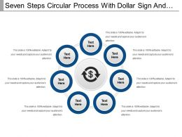 Seven Steps Circular Process With Dollar Sign And Text Boxes