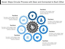Seven Steps Circular Process With Gear And Connected To Each Other