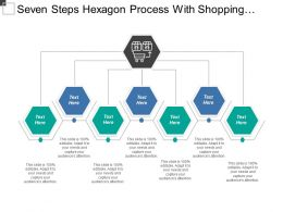 Seven Steps Hexagon Process With Shopping Cart And Boxes Icon