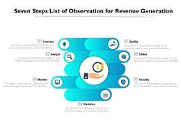 Seven Steps List Of Observation For Revenue Generation