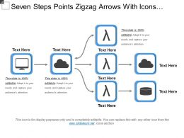 Seven Steps Points Zigzag Arrows With Icons And Text Holders