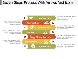Seven Steps Process With Arrows And Icons