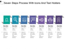 Seven Steps Process With Icons And Text Holders