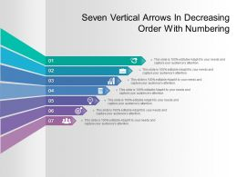 Seven Vertical Arrows In Decreasing Order With Numbering