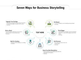 Seven Ways For Business Storytelling