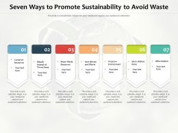 Seven Ways To Promote Sustainability To Avoid Waste
