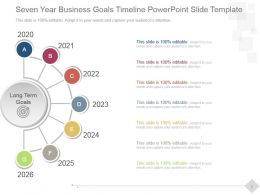 Seven Year Business Goals Timeline Powerpoint Slide Template
