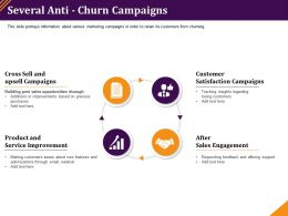 Several Anti Churn Campaigns Service Improvement Ppt Powerpoint Summary