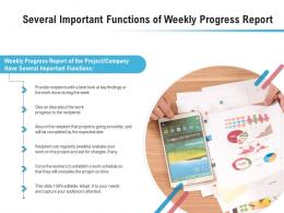 Several Important Functions Of Weekly Progress Report