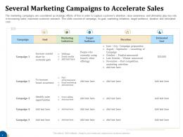 Several Marketing Campaigns To Accelerate Sales Business Turnaround Plan Ppt Designs