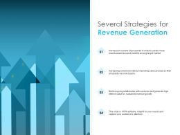Several Strategies For Revenue Generation