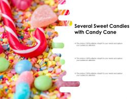 Several Sweet Candies With Candy Cane