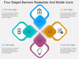 sf Four Staged Banners Realestate And Mobile Icons Flat Powerpoint Design