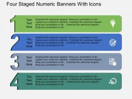 Sg Four Staged Numeric Banners With Icons Flat Powerpoint Design