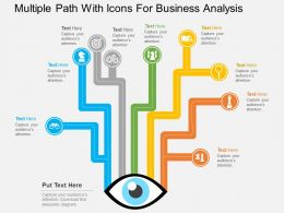 sg Multiple Path With Icons For Business Analysis Flat Powerpoint Design