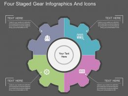 sh Four Staged Gear Infographics And Icons Flat Powerpoint Design