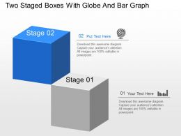 Sh Two Staged Boxes With Globe And Bar Graph Powerpoint Template
