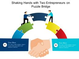 Shaking Hands With Two Entrepreneurs On Puzzle Bridge