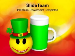 Shamrock St Patricks Day Feast Celebration With Smiley Templates Ppt Backgrounds For Slides