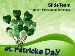 Shamrock St Patricks Day Happy With Balloons Templates Ppt Backgrounds For Slides