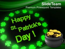 Shamrock St Patricks Day Pot Of Gold Coins Powerpoint Templates Ppt Backgrounds For Slides