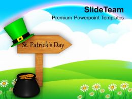 Shamrock St Patricks Day Signpost Festival Powerpoint Templates Ppt Backgrounds For Slides