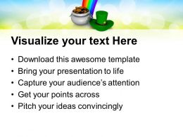 Shamrock St Patricks Day With Rainbow Holidays Powerpoint Templates Ppt Backgrounds For Slides