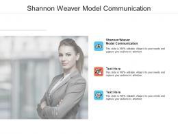 Shannon Weaver Model Communication Ppt Powerpoint Presentation Layouts Mockup Cpb