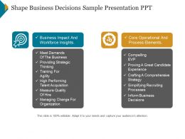 Shape Business Decisions Sample Presentation Ppt