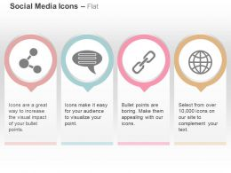 Share Talking Bubble Link Globe Ppt Icons Graphics