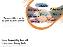Shared Responsibility Quote With Entrepreneurs Shaking Hands