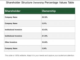 Shareholder Structure Ownership Percentage Values Table