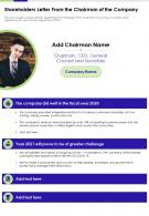 Shareholders Letter From The Chairman Of The Company Presentation Report Infographic PPT PDF Document