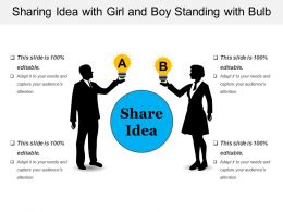 Sharing Idea With Girl And Boy Standing With Bulb
