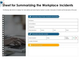 Sheet For Summarizing The Workplace Incidents M1506 Ppt Powerpoint Presentation Icon Tips